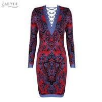 Adyce 2017 Winter New Arrive Luxury Red&Blue Lace Up Deep V Mini Dress Long Sleeve Celebrity Evening Party Dresses Vestidos