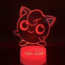 home Decoration Crafts Cute Pokemon Go Jigglypuff Figurines Led Night Light Birthday Gift for Kids Bedroom Battery Usb 3d Lamp