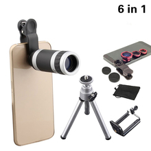 2017 6in1 Phone Camera Lenses Kit 8x Telephoto Lentes Fish Eye Wide Angle  Macro Lens Mini Tripod For iphone 6 6s 7 Samsung Sony