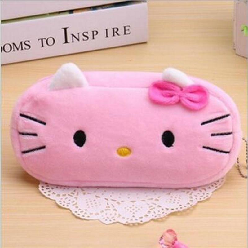 Cartoon hello kitty Large Capacity Plush Pencil Holder Storage Pouch Cosmetic Bag Promotional Gift Stationery