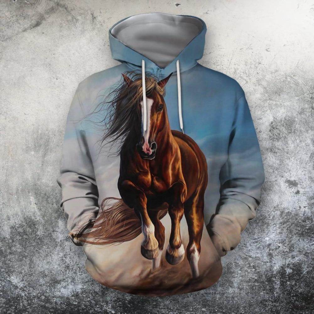 New 3D sweatshirt Hoodies Men Horse Colorful 3D Print Long Sleeve Fashion Hipster Hoodie Loose Streetwear Pullovers Top MA002