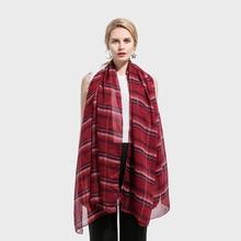 Winfox 2018 New Fashion Lightweight Soft Plaid Tartan Scarf Shawl Wraps Echarpe For Womens Ladies