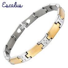 895ec653d8c9 Escalus señoras pulsera de titanio oro y plata Ionic plating mujeres  toggle-broches brazalete pulsera encanto