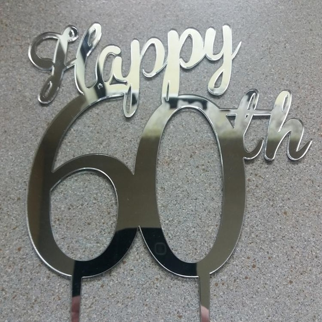 Happy 60th Birthday Cake TopperPersonalized TopperAnniversary Number ToppersMirror Gold Decorations