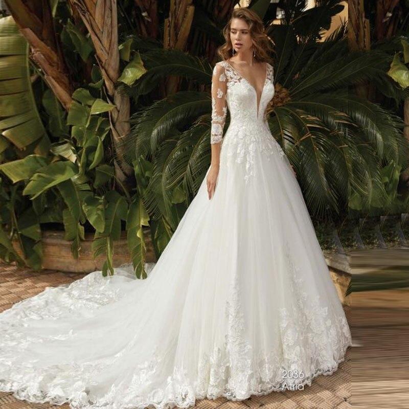 Eightale Boho Wedding Dresses With Sleeves  Appliques V-Neck Lace Dubai Bridal Dress Long Train Wedding Gowns Vestidos De Noiva