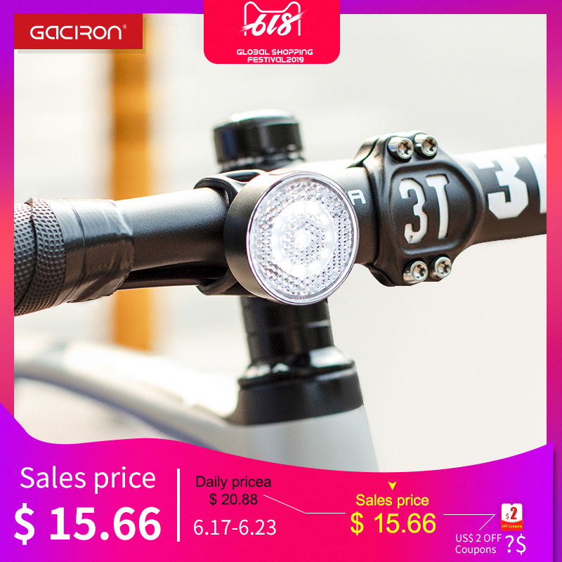 GACIRON W08F-20 Warning Front Light 20Lumens USB Rechargeable LED Lamp Waterproof Bicycle light Bike Accessories