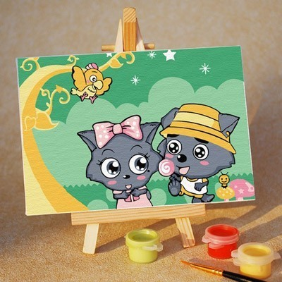 Diy digital oil painting diy hand painting oil painting cartoon child painting 10 15 easel