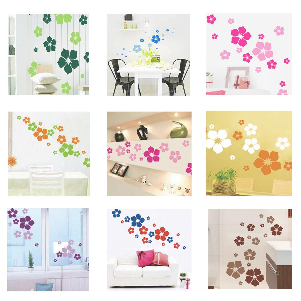 1pc Removable Beautiful Flowers Wall Sticker Children Living Room Bedroom Decor Environmental