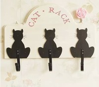 040352 Wall Decor Creative Fashion Models Cat Wooden Wall Decorative Wrought Iron Coat Hooks Wooden Ornaments