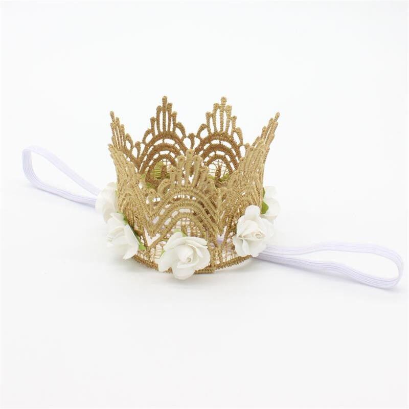 Toddler Baby Girls Crown Headband Princess Floral Tiara Lace Wedding Headwear