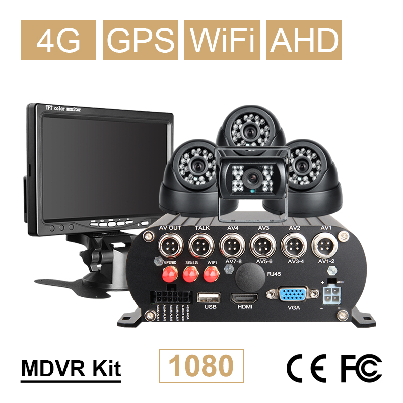 Online 4CH WIFI GPS 4G 1080P AHD 2TB HDD SD DVR Gravador de Vídeo de Visão Traseira Do Carro Cúpula kit Câmera do carro Em Tempo Real Monitor de 7