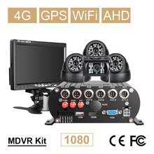 Online 4CH WIFI GPS 4G 1080P AHD 2TB HDD SD Car DVR Video Recorder Rear View Dome Car Camera Kit Realtime Monitor 7