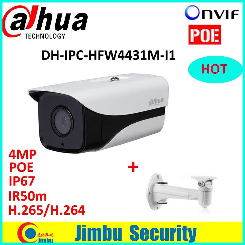 videcam 4mp starlight DH-IPC-HFW4431M-I1 4MP ONVIF Full HD Network IP67 IR Mini Camera POE cctv network bullet with bracket dahua 4mp bullet h 265 h 264 full hd network ip67 ir50 ip camera cctv network onvif dh ipc hfw4436m i1 with bracket
