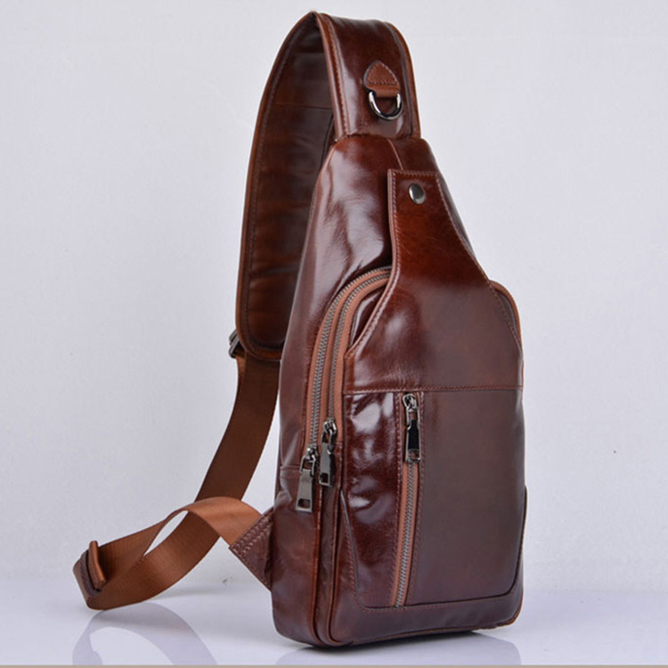 Men's Fashion Chest Bag Genuine Leather Crossbody Shoulder Bags Casual Cowhide Men Messenger Bag High Quality Chest Pack Male senkey style simple fashion genuine leather men bags high quality men s crossbody bag male casual handbag shoulder messenger bag