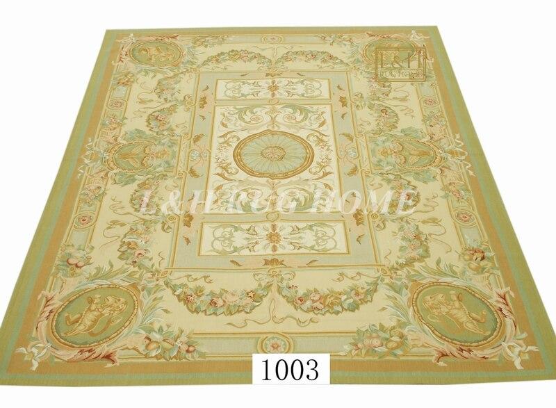 Livraison gratuite 9'x12' Aubusson tapis tapis en laine design rouge, tapis français Aubusson, tapis tissé à la main