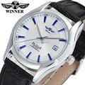 Vencedor relógio dos homens de negócios mais novo Hotsale Automatic Self vento pulseira de couro preto relógio de pulso analógico cor prata WRG8050M3S2