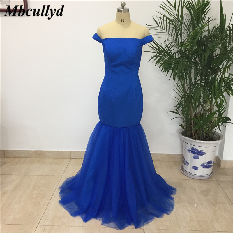 Mbcullyd Long Bridesmaid Dress 2019 Royal Blue Formal Party Dresses For Wedding Lace Up Back Best Vidos De Fiesta Largos