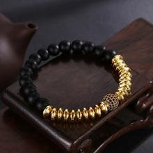 HOBBORN Trendy Natural Stone Women Bracelet 8mm Black Matte Onyx Micro Pave CZ Ball Charm Men Healing Bracelets Jewelry