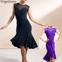 new woman sleeveless short back long Latin dance practice performance dress freeshipping