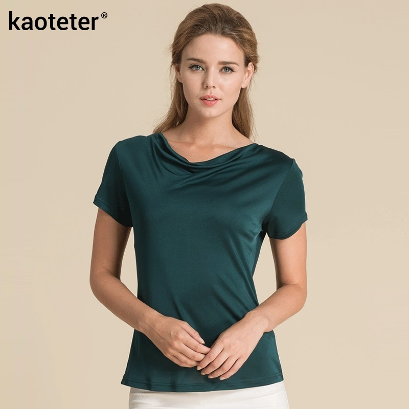 100% Pure Silk Women's T-Shirts Women Cowl Collar Wild Shirts Femme Short Sleeve Tops Woman Casual Tee Shirt Female T Shirts