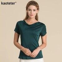 100 Pure Silk Women T Shirts 2016 New Spring Autumn Cowl Collar Bottoming Shirts Female Short