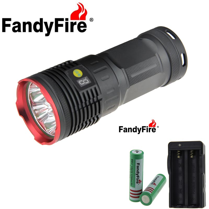 FandyFire CREE 8 LED R8 8000lm 4 Mode Cool White Light Flashlight (4*18650+ 2* chargers) High brightness LED Torch