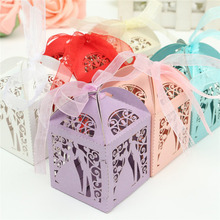 2016 Colorful Laser Cut Bride and Bridegroom Wedding Box Pearlscent Candy Paper Bags Wedding Party Candies Gifts Pouches+Ribbons