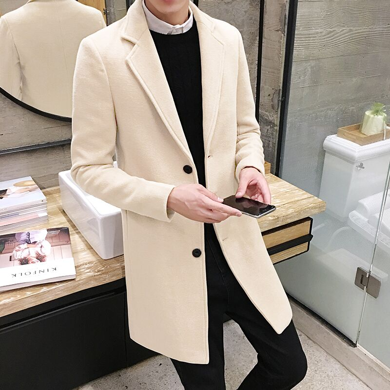 Image 5 - High quality men's long solid color windbreaker, autumn and winter fashion slim warm jacket, large size 5XL men's woolen coat-in Trench from Men's Clothing