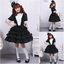Kunden zu bestellen! V-990 Schwarz Kurzen ärmeln knielangen Gothic Lolita Kleid schuluniform kleider Halloween Cocktailkleid