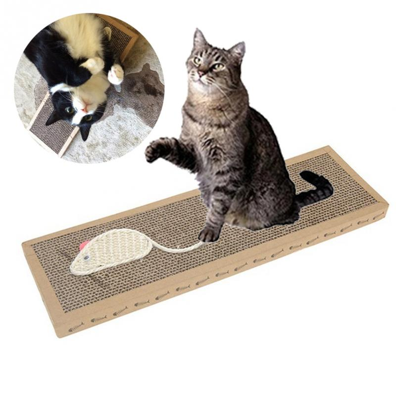 Cat Cartoon Scratch Board With Sherpa Ball Toy,kitten Scratcher Mat Pad Interactive Toy For Pet Training