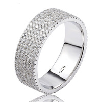 Solid 925 Sterling Silver Ring 6 Row Pave Setting Cubic Zirconia Diamond Silver Ring For Women