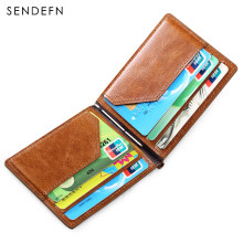 SENDEFN Slim Wallet Men Genuine Leather Small Card Holder Purse Bifold Skin Leather Mini Wallet For Business Card Case W05-65(China)