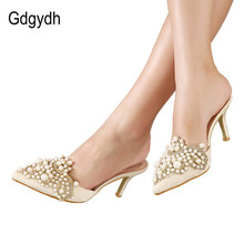 Gdgydh New Brand 2018 Summer Shoes Women Sweet Elegant Pearl Beaded High-heeled Shoes Thin Heels Pointed Toe Women Sandals