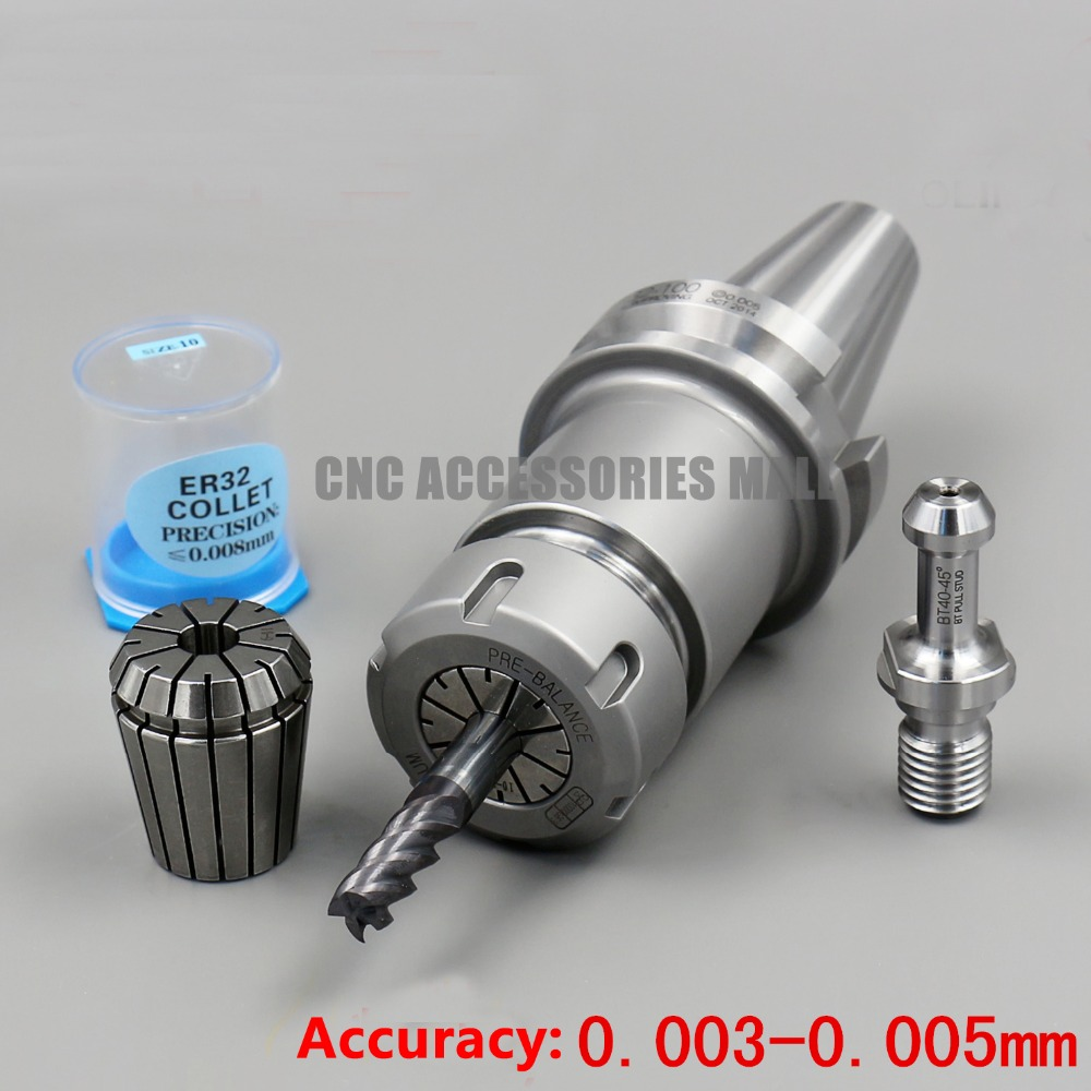 ATC Spindle tool handle BT40-ER32-100 CNC BT40 taper milling chuck with 1pc BT40 x 45 Degree Pull Stud & 1pc ER32 10mm collet new bt40 er32 floating tap holder bt40 tapping collet chuck cnc milling and turn