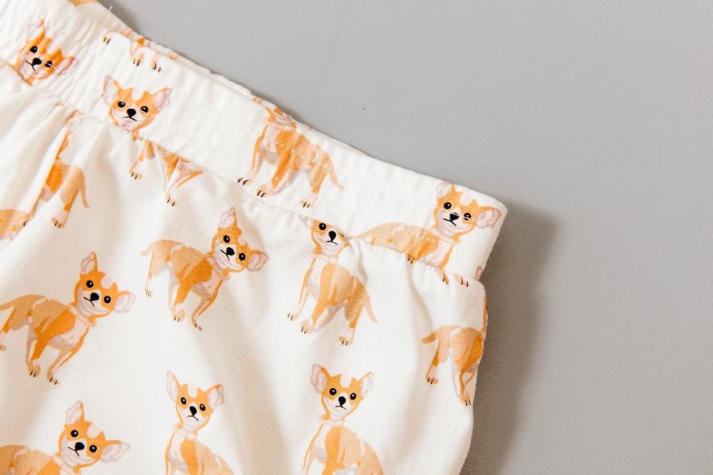 2017 Women's Cute Chihuahua Cartoon Print Casual Shorts Loose Fit White Elastic Waist Stretchy Cotton Plus Size B7D301J 1