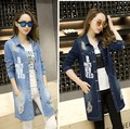 2015 autumn New fashion women Denim Long Trench Cowboy coats Clothing full sleeve long leisure female  jaqueta women coat trench