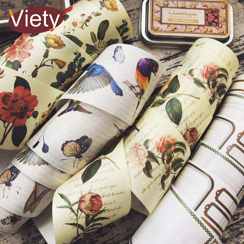 6cm*7m Vintage Flower and Bird washi tape DIY decoration scrapbooking planner masking tape adhesive tape kawaii stationery 10 rolls pack pastel washi tape diy decoration scrapbooking planner masking tape adhesive kawaii stationery