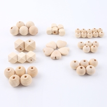 45pc Wood Beads Making Bracelet Necklace Accessories Wooden Teething Food Grade Materials