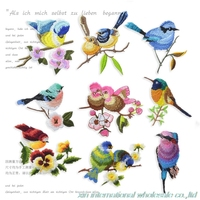 Set of 15 Fine bird embroidered cloth sticker ecussons thermocollants fashion patch Best Sellers patches free shopping patch