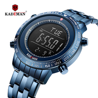 Kademan homens relógios masculinos de aço inoxidável completo relógio digital eletrônico relógio de pulso marca superior luxo masculino esportes à prova dwaterproof água