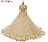 Bridalaffa Luxury Pearls Wedding Dress Long Sleeves Ball Gown 2018 Wedding Dresses Customized Royal Train Dress Vestido De Noiva