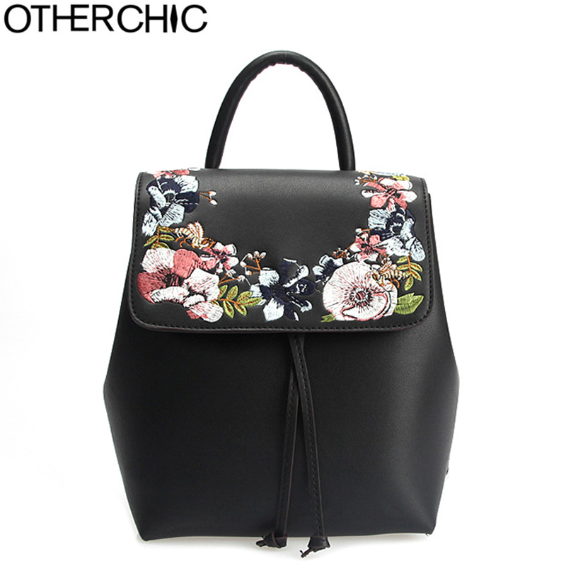 OTHERCHIC Fashion Women Casual Backpacks Embroidery Floral Backpack Grils Black PU Leather Drawstring Backpack L-7N09-24 ...