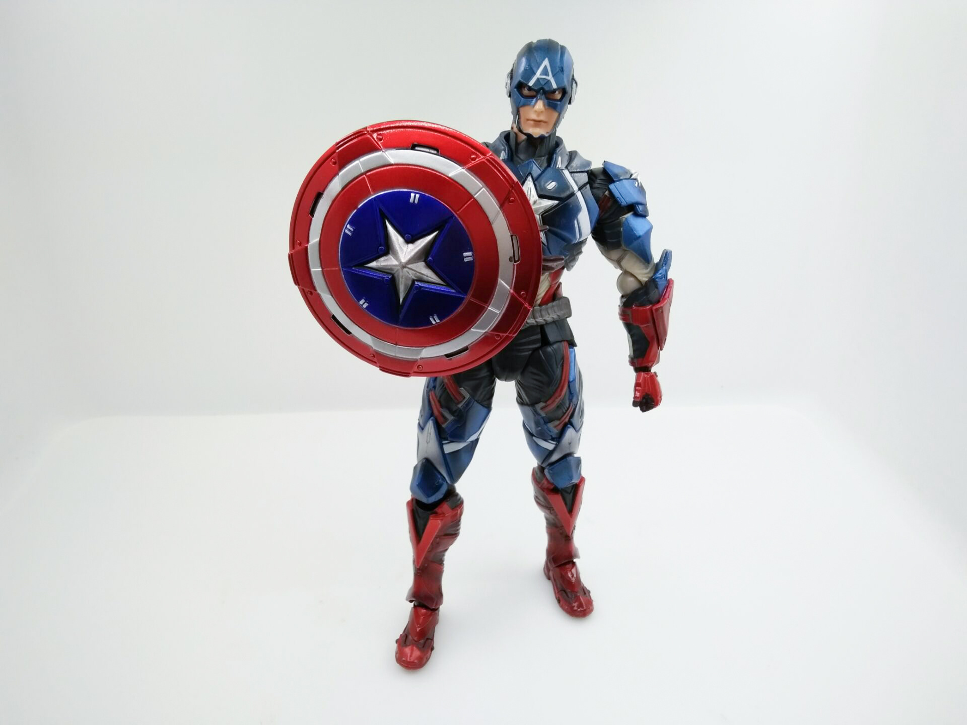 WVW 25.5CM Hot Sale The Avengers Movie Hero Captain America Play Arts Model PVC Toy Action Figure Decoration For Collection Gift new hot 27cm avengers super hero captain america enhanced version action figure toys doll collection christmas toy with box