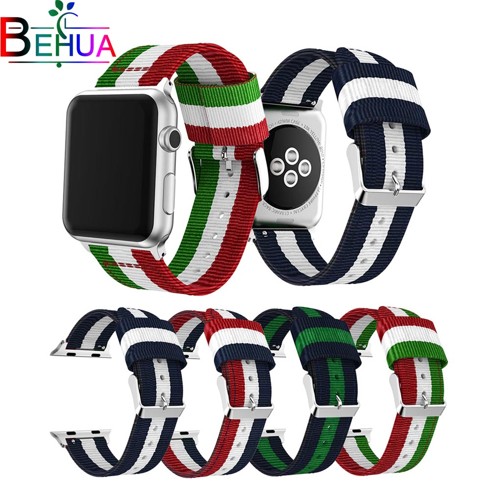 Sport woven nylon strap for apple watch band 42mm 38mm 44mm bracelet wrist belt watchband for iwatch 4/3/2/1 series replacement strap for apple watch 42mm fine woven nylon adjustable replacement sport band for apple watch 38mm series 1 series 2