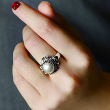 Guaranteed Silver Sterling 925 Ring Vintage Flower Round Pearl Rings For Women Natural Elegant Fine Jewelry Bague Femme