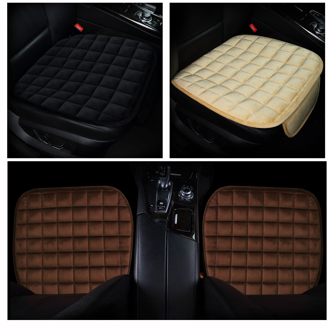 Dewtreetali Breathable Front Square Velvet Car Seat Cover Winter Warm Car Seat Protector Pad Cushion Auto Seat Covers