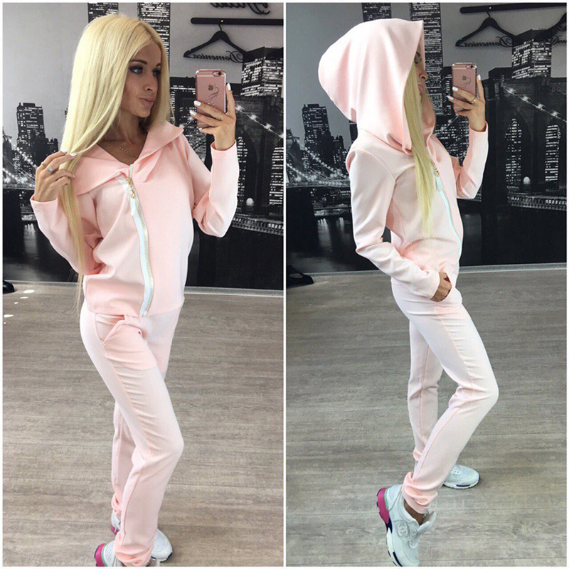 2 Piece Set Women Casual  Suits Spring Autumn Long Sleeve Hoodies+ Long Pants Side Zipper Tracksuits Hoodects Sets KH825754