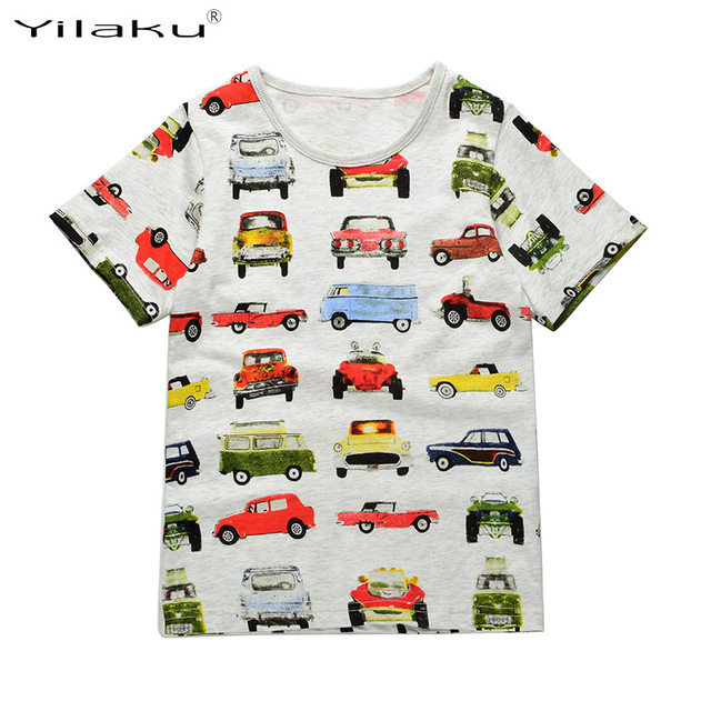 29c632f4b4ff Yilaku Boys T shirt Clothes Cartoon Cars Printed Kids T-shirt Little Boy  Shirts Children