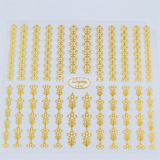 3d de alta Qualidade de Ouro (branco) Da Arte Do Prego Decalques Adesivos Hot Stamping Prego Dicas de Decoração Ferramentas de beleza Unhas Acessórios 1-012