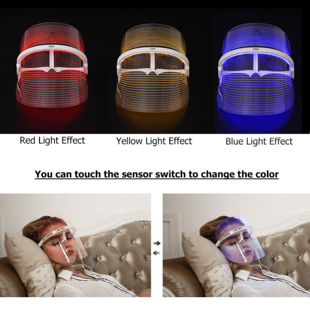 Facial SPA LED Light Therapy Face Mask 3 Colors Anti Acne Anti Wrinkle Instrument Treatment Beauty Device Face Skin Care Tools